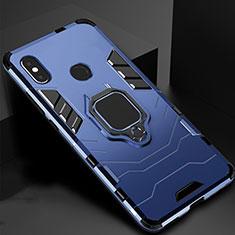 Silikon Hülle Handyhülle und Kunststoff Schutzhülle Tasche mit Magnetisch Ständer für Xiaomi Mi Max 3 Blau