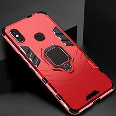 Silikon Hülle Handyhülle und Kunststoff Schutzhülle Tasche mit Magnetisch Ständer für Xiaomi Redmi 6 Pro Rot
