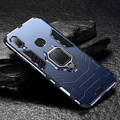 Silikon Hülle Handyhülle und Kunststoff Schutzhülle Tasche mit Magnetisch Ständer für Xiaomi Redmi Note 7 Blau