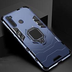 Silikon Hülle Handyhülle und Kunststoff Schutzhülle Tasche mit Magnetisch Ständer für Xiaomi Redmi Note 8 Blau