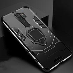 Silikon Hülle Handyhülle und Kunststoff Schutzhülle Tasche mit Magnetisch Ständer für Xiaomi Redmi Note 8 Pro Schwarz