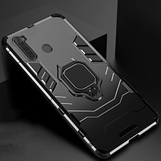 Silikon Hülle Handyhülle und Kunststoff Schutzhülle Tasche mit Magnetisch Ständer für Xiaomi Redmi Note 8T Schwarz