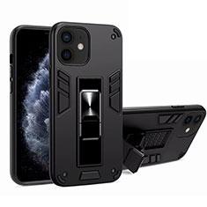 Silikon Hülle Handyhülle und Kunststoff Schutzhülle Tasche mit Magnetisch Ständer H01 für Apple iPhone 12 Schwarz