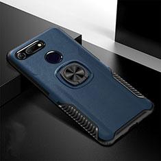 Silikon Hülle Handyhülle und Kunststoff Schutzhülle Tasche mit Magnetisch Ständer H02 für Huawei Honor V20 Blau