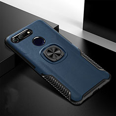 Silikon Hülle Handyhülle und Kunststoff Schutzhülle Tasche mit Magnetisch Ständer H02 für Huawei Honor View 20 Blau