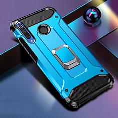 Silikon Hülle Handyhülle und Kunststoff Schutzhülle Tasche mit Magnetisch Ständer K01 für Huawei Honor 20i Blau