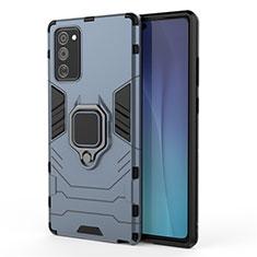 Silikon Hülle Handyhülle und Kunststoff Schutzhülle Tasche mit Magnetisch Ständer N01 für Samsung Galaxy Note 20 5G Blau