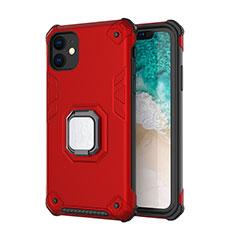 Silikon Hülle Handyhülle und Kunststoff Schutzhülle Tasche mit Magnetisch Ständer Z01 für Apple iPhone 11 Rot