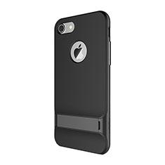 Silikon Hülle Handyhülle und Kunststoff Schutzhülle Tasche mit Ständer A01 für Apple iPhone 7 Schwarz