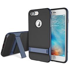 Silikon Hülle Handyhülle und Kunststoff Schutzhülle Tasche mit Ständer A01 für Apple iPhone 8 Plus Blau