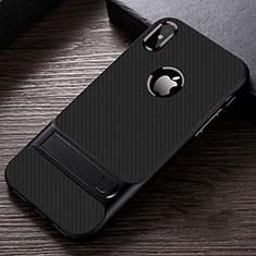 Silikon Hülle Handyhülle und Kunststoff Schutzhülle Tasche mit Ständer A01 für Apple iPhone X Schwarz
