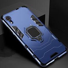 Silikon Hülle Handyhülle und Kunststoff Schutzhülle Tasche mit Ständer A01 für Apple iPhone XR Blau