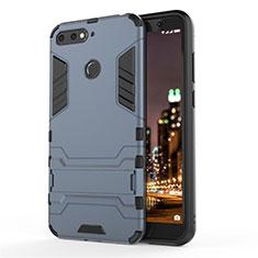 Silikon Hülle Handyhülle und Kunststoff Schutzhülle Tasche mit Ständer A01 für Huawei Enjoy 8e Blau