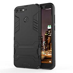 Silikon Hülle Handyhülle und Kunststoff Schutzhülle Tasche mit Ständer A01 für Huawei Enjoy 8e Schwarz