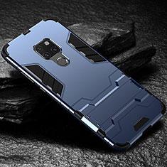 Silikon Hülle Handyhülle und Kunststoff Schutzhülle Tasche mit Ständer A01 für Huawei Mate 20 Blau