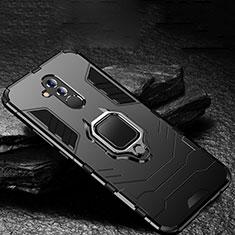 Silikon Hülle Handyhülle und Kunststoff Schutzhülle Tasche mit Ständer A01 für Huawei Mate 20 Lite Schwarz