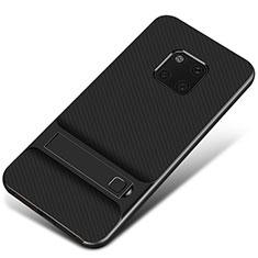 Silikon Hülle Handyhülle und Kunststoff Schutzhülle Tasche mit Ständer A01 für Huawei Mate 20 Pro Schwarz