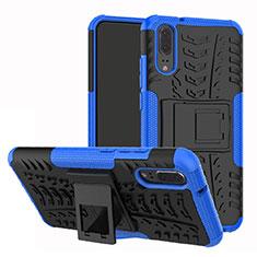 Silikon Hülle Handyhülle und Kunststoff Schutzhülle Tasche mit Ständer A01 für Huawei P20 Blau