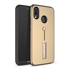 Silikon Hülle Handyhülle und Kunststoff Schutzhülle Tasche mit Ständer A01 für Huawei P20 Lite Gold
