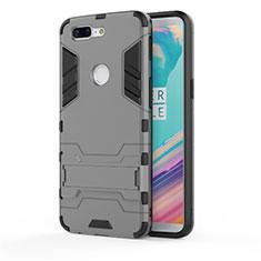 Silikon Hülle Handyhülle und Kunststoff Schutzhülle Tasche mit Ständer A01 für OnePlus 5T A5010 Grau