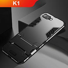 Silikon Hülle Handyhülle und Kunststoff Schutzhülle Tasche mit Ständer A01 für Oppo K1 Schwarz