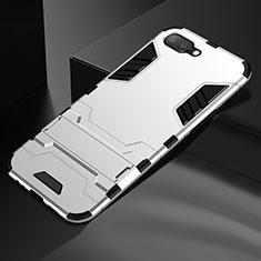 Silikon Hülle Handyhülle und Kunststoff Schutzhülle Tasche mit Ständer A01 für Oppo K1 Silber