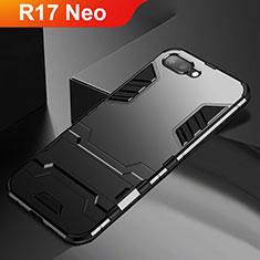 Silikon Hülle Handyhülle und Kunststoff Schutzhülle Tasche mit Ständer A01 für Oppo R17 Neo Schwarz