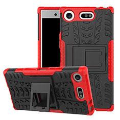 Silikon Hülle Handyhülle und Kunststoff Schutzhülle Tasche mit Ständer A01 für Sony Xperia XZ1 Compact Rot