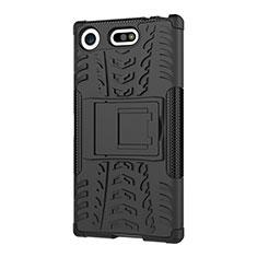 Silikon Hülle Handyhülle und Kunststoff Schutzhülle Tasche mit Ständer A01 für Sony Xperia XZ1 Compact Schwarz