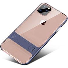 Silikon Hülle Handyhülle und Kunststoff Schutzhülle Tasche mit Ständer A02 für Apple iPhone 11 Pro Max Blau