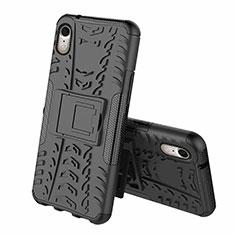 Silikon Hülle Handyhülle und Kunststoff Schutzhülle Tasche mit Ständer A02 für Apple iPhone XR Schwarz