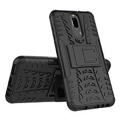 Silikon Hülle Handyhülle und Kunststoff Schutzhülle Tasche mit Ständer A02 für Huawei Mate 10 Lite Schwarz
