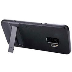 Silikon Hülle Handyhülle und Kunststoff Schutzhülle Tasche mit Ständer A02 für Samsung Galaxy S9 Schwarz