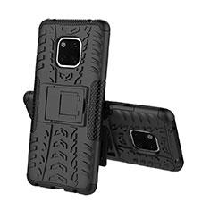 Silikon Hülle Handyhülle und Kunststoff Schutzhülle Tasche mit Ständer A03 für Huawei Mate 20 Pro Schwarz