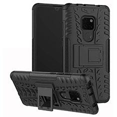 Silikon Hülle Handyhülle und Kunststoff Schutzhülle Tasche mit Ständer A03 für Huawei Mate 20 Schwarz