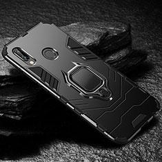 Silikon Hülle Handyhülle und Kunststoff Schutzhülle Tasche mit Ständer A03 für Huawei P20 Lite Schwarz