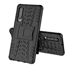 Silikon Hülle Handyhülle und Kunststoff Schutzhülle Tasche mit Ständer A03 für Huawei P30 Schwarz