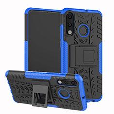 Silikon Hülle Handyhülle und Kunststoff Schutzhülle Tasche mit Ständer A04 für Huawei Nova 4e Blau