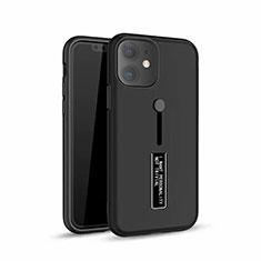 Silikon Hülle Handyhülle und Kunststoff Schutzhülle Tasche mit Ständer A07 für Apple iPhone 11 Schwarz