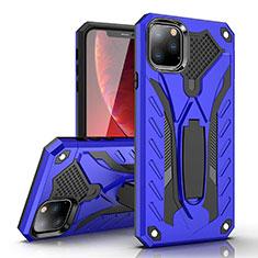 Silikon Hülle Handyhülle und Kunststoff Schutzhülle Tasche mit Ständer für Apple iPhone 11 Pro Max Blau