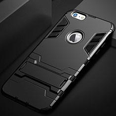 Silikon Hülle Handyhülle und Kunststoff Schutzhülle Tasche mit Ständer für Apple iPhone 6S Plus Schwarz