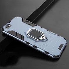 Silikon Hülle Handyhülle und Kunststoff Schutzhülle Tasche mit Ständer für Apple iPhone 7 Blau