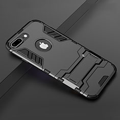 Silikon Hülle Handyhülle und Kunststoff Schutzhülle Tasche mit Ständer für Apple iPhone 8 Plus Schwarz