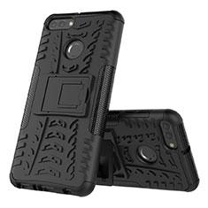Silikon Hülle Handyhülle und Kunststoff Schutzhülle Tasche mit Ständer für Huawei Enjoy 8 Plus Schwarz