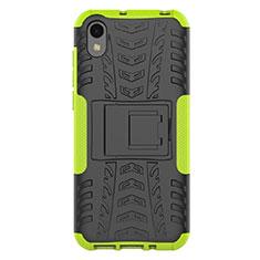 Silikon Hülle Handyhülle und Kunststoff Schutzhülle Tasche mit Ständer für Huawei Enjoy 8S Grün