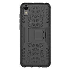 Silikon Hülle Handyhülle und Kunststoff Schutzhülle Tasche mit Ständer für Huawei Enjoy 8S Schwarz
