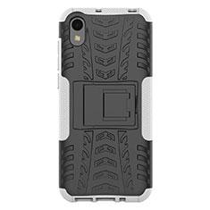 Silikon Hülle Handyhülle und Kunststoff Schutzhülle Tasche mit Ständer für Huawei Enjoy 8S Weiß