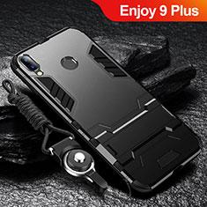 Silikon Hülle Handyhülle und Kunststoff Schutzhülle Tasche mit Ständer für Huawei Enjoy 9 Plus Schwarz