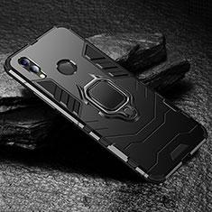 Silikon Hülle Handyhülle und Kunststoff Schutzhülle Tasche mit Ständer für Huawei Honor 8X Schwarz