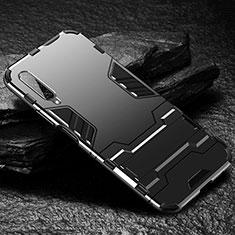Silikon Hülle Handyhülle und Kunststoff Schutzhülle Tasche mit Ständer für Huawei Honor 9X Pro Schwarz